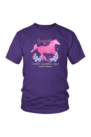 Aquarius Zodiac Horse Unisex Shirt-T-shirt-teelaunch-District Unisex Shirt-Purple-S-Three Wild Horses