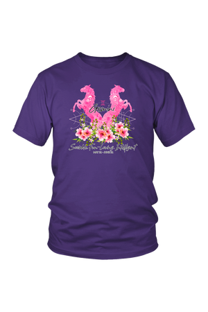 Gemini Horse Unisex Shirt-T-shirt-teelaunch-District Unisex Shirt-Purple-S-Three Wild Horses