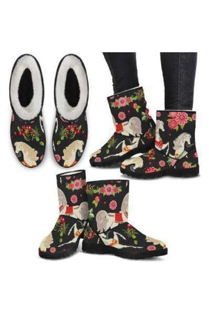 Horse Pattern Faux Fur Boots-Boots-Pillow Profits-7-US5.5 (EU36)-Three Wild Horses