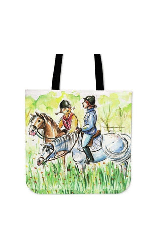 Pale Goldenrod Artisan Designed Two Riders on Their Horses - Tote Bag