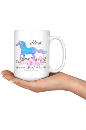 Pisces Zodiac Horse Coffee Mug-Drinkware-teelaunch-Pisces Blue Horse Coffee Mug-Three Wild Horses