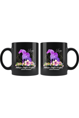 Virgo Zodiac Horse Black Mug-Drinkware-teelaunch-Virgo Purple Horse Black Mug-Three Wild Horses