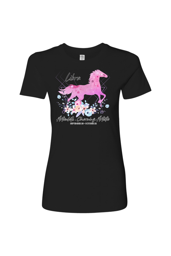 Libra Horse Shirt for Women-T-shirt-teelaunch-Next Level Womens Shirt-Black-S-Three Wild Horses