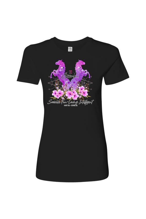 Gemini Horse Shirt for Women-T-shirt-teelaunch-Next Level Womens Shirt-Black-S-Three Wild Horses