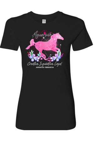 Aquarius Horse Shirt for Women-T-shirt-teelaunch-Next Level Womens Shirt-Black-S-Three Wild Horses