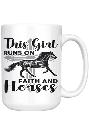 Black This Girl Runs on Faith & Horses Mug