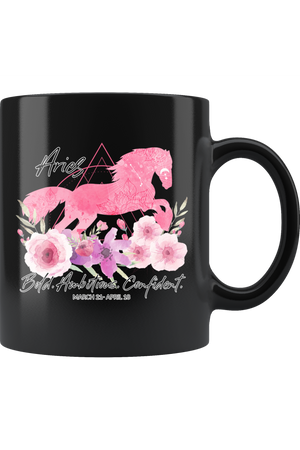 Aries Zodiac Horse Black Mug-Drinkware-teelaunch-Aries Pink Horse Black Mug-Three Wild Horses