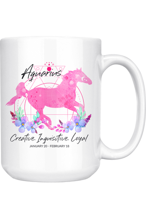 Aquarius Zodiac Horse Coffee Mug-Drinkware-teelaunch-Pink Horse Aquarius Zodiac-Three Wild Horses