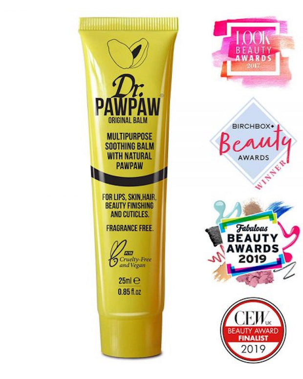 Dr.PAWPAW Original Balm (The iconic yellow one!) Award-winning multi-tasking balm is packed full of pawpaw, aloe vera and olive oil.  LONG LASTING RESULTS FOR SKIN AND HAIR Hydrate.Nourish.Soften.Soothe.Protect.Heal.