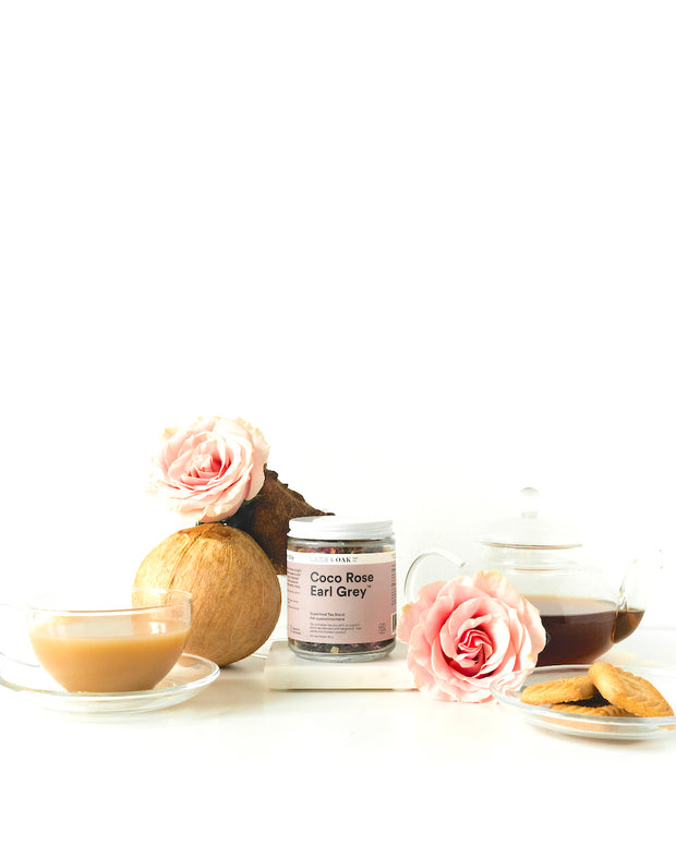 Coco Rose Earl Grey - Superfood Tea Blend This luxurious twist on the classic Earl Grey is light and balanced with organic bergamot essence and a hit of nuttiness from toasted coconut. Blended with rose petals and cinnamon, it will transform your daily cup of tea into a goddess-worthy ritual.