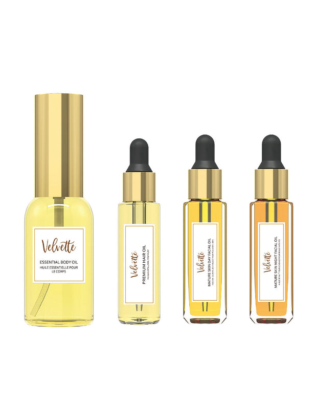 Velvette Mature Skin Collection Gift Set:  contains four travel sized beauty essentials. Send a love letter to yourself, or to someone you love! Velvette's all natural and organic oils are the perfect way to pamper this Holiday Season or any time of year. Give the gift of self love and self care and nourish their skin and soul!