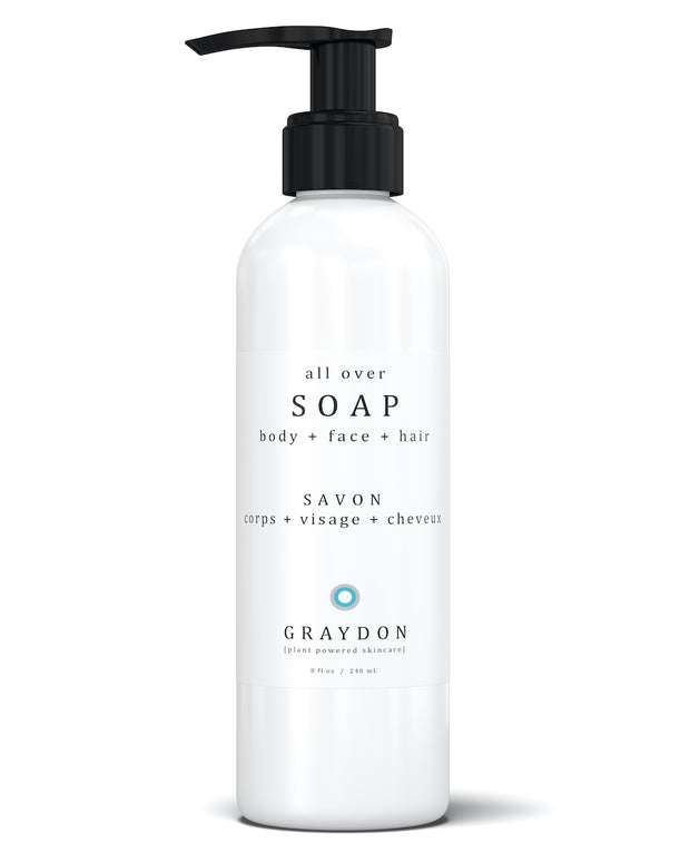 Cleanse body, face and hair with best-selling All Over Soap. Its uplifting scent of citrus, spice, and mint helps relax and invigorate your senses while providing a deep clean without stripping your skin of moisture. Natural, vegan, cruelty-free with organically sourced ingredients. Free from SLS, sulphates, parabens, synthetic fragrances, petroleum