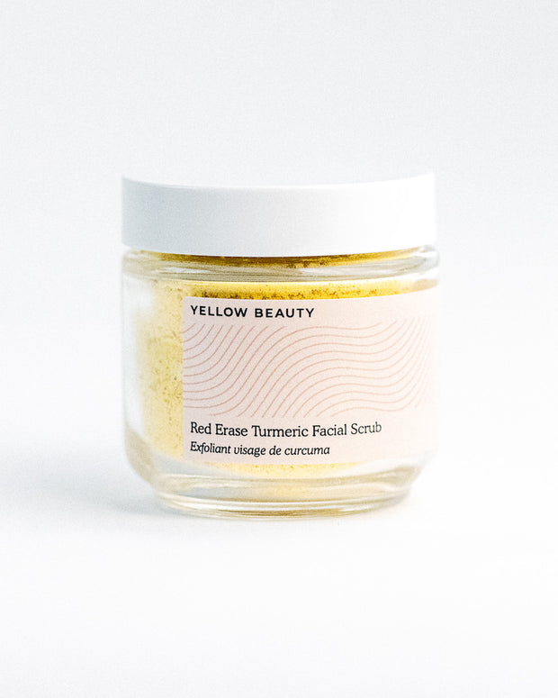 The secret to shrinking breakouts and calming redness isn't more harsh chemicals, it's less. That's why the RED ERASE facial scrub features turmeric — the perfect, powerful, natural ingredient that has you covered. When combined with skin superfoods like chickpea flour and coconut oil, the result is a gentle exfoliant that fades breakouts and redness in as little as one use.