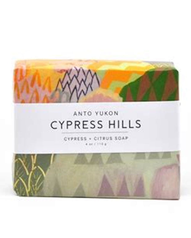 Handmade and cured in our northern Canadian studio located in Yukon Territory. Featuring original Canadian artwork. 100% recyclable packaging. Coconut base, free of sulphates and parabens, all natural ingredients, colourants, and essential oils. Cypress Hills is scented with cypress, grapefruit, and a hint of lime. Vegan and cruelty free