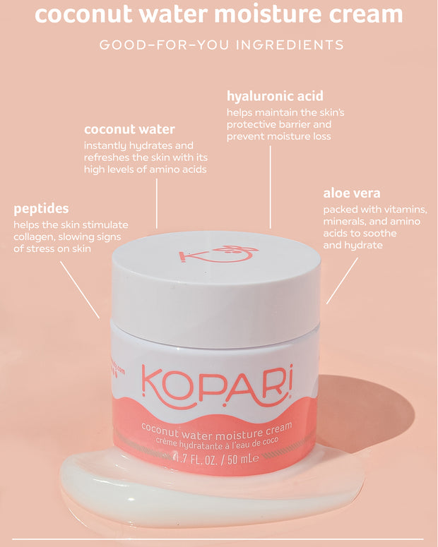 100% vegan water-gel, light-weight face moisturizer. Perfect for all skin types, but created with oily and combination skin in mind. Say hello to a dewy new you! Loaded with skin-loving ingredients like stimulating peptides, soothing rose extract, hydrating hyaluronic acid, and refreshing coconut water.