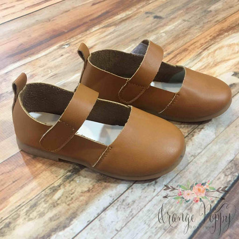 camel leather tan girls mary jane shoes