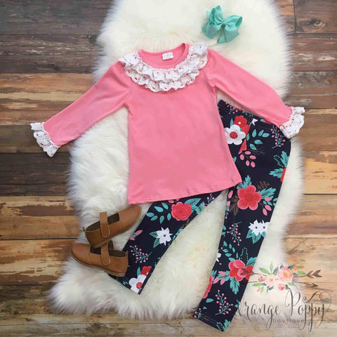 macy floral and lace outfit