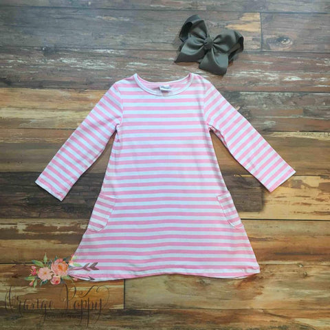 pink stripe pocket dress