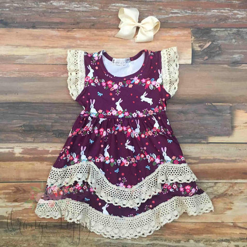 plum vintage bunny dress