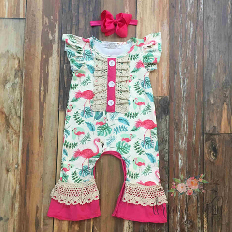 baby girl flamingo romper