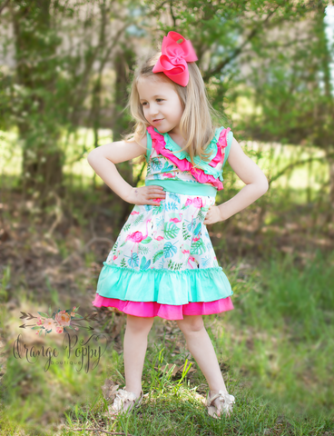 pink flamingo girls dress