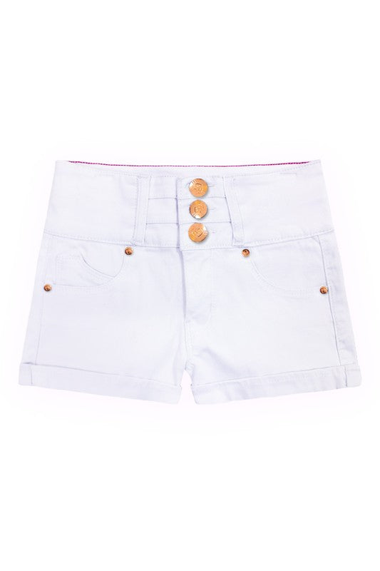 Ryleigh Cuffed Jean Shorts - White