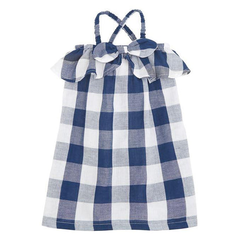 Navy Gingham Bow Dress