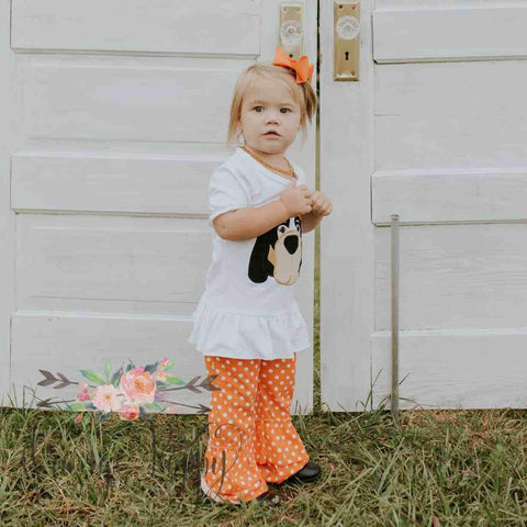 Orange and White Hound Dog Set - Short Sleeve - Orange Poppy Boutique