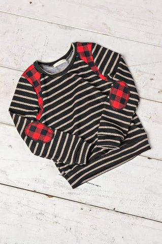 Long Sleeve Striped Buffalo Plaid Top