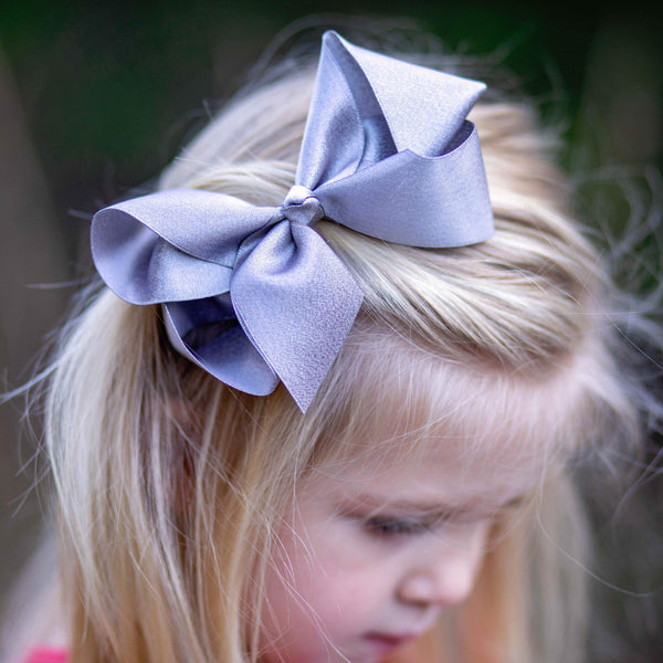 Silver Shimmer Bow - Orange Poppy Boutique