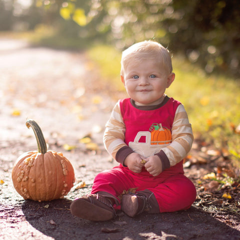 Boys Thanksgiving Pumpkin Truck Romper