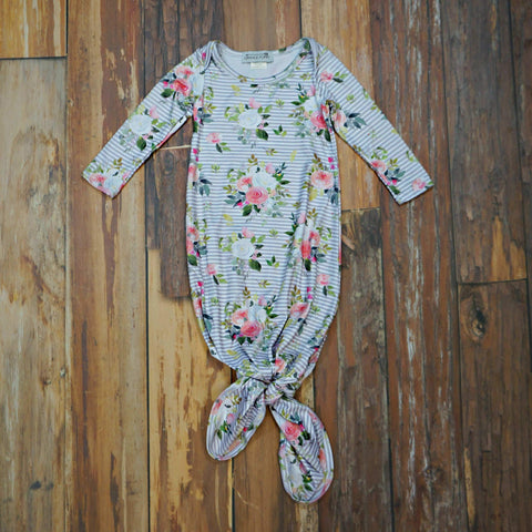 Shabby Cottage Tie-Bottom Baby Gown - Orange Poppy Boutique