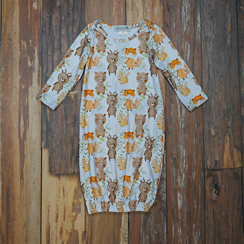 Woodland Adventures Baby Gown - Orange Poppy Boutique