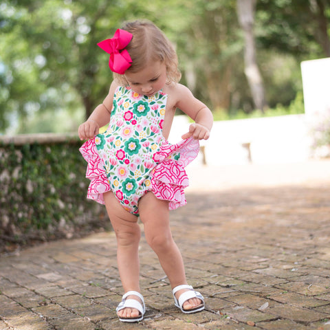 Garden Party Bubble Romper - Orange Poppy Boutique