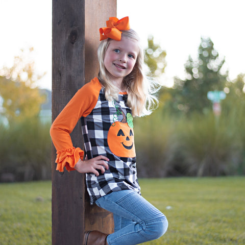 Jazzy Jack-O-Lantern Ruffle Raglan - Orange Poppy Boutique