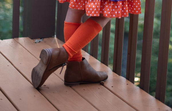 Cable Knee High Socks - Tangerine - Orange Poppy Boutique