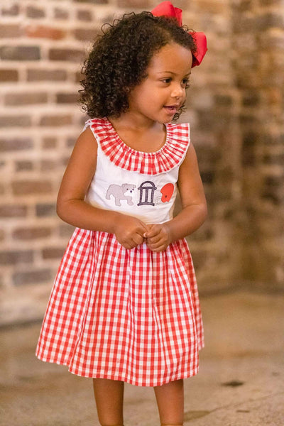 Gingham Bulldog Dress - Orange Poppy Boutique