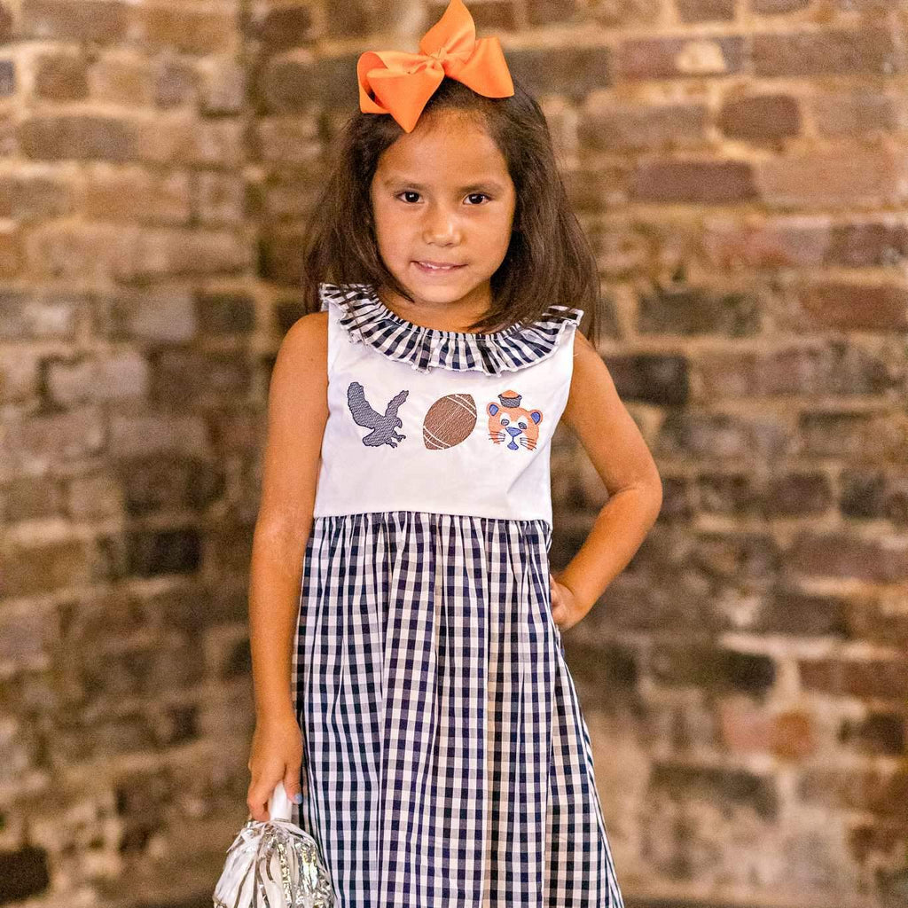 Gingham Tiger Dress - Navy & Orange - Orange Poppy Boutique