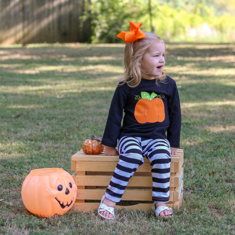 Black Striped Pumpkin Set - Orange Poppy Boutique
