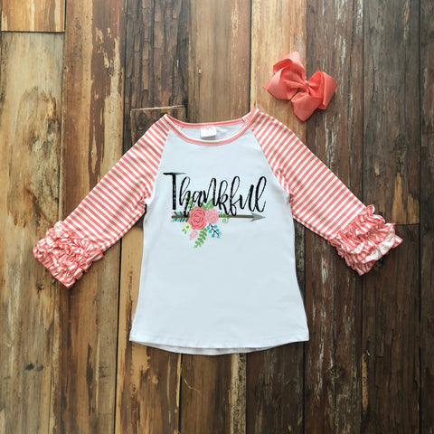 Thankful Ruffle Raglan Tee - Orange Poppy Boutique