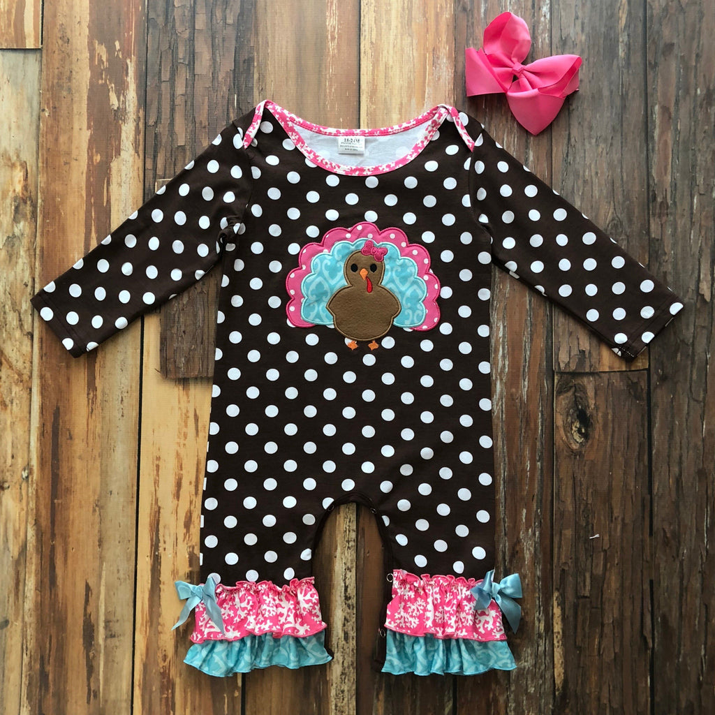 Sweet Little Turkey Romper - Orange Poppy Boutique