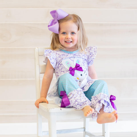Deluxe Floral Bunny Ruffle Set - Orange Poppy Boutique