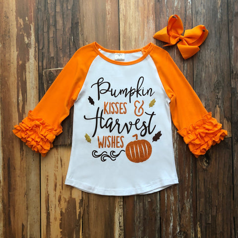 Pumpkin Kisses & Harvest Wishes Raglan - Orange Poppy Boutique
