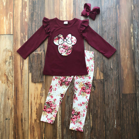 Burgundy Floral Minnie Applique Set - Orange Poppy Boutique