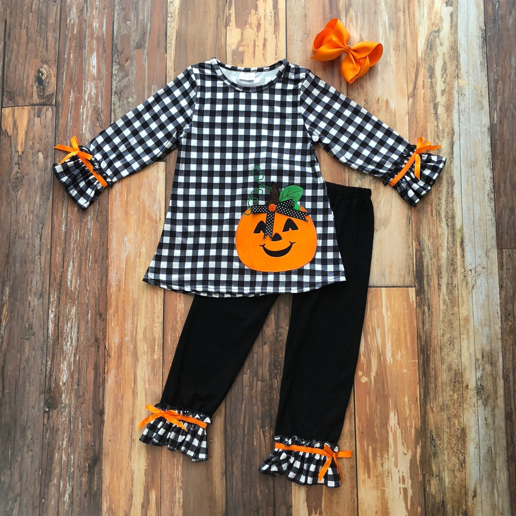 Jazzy Jack-O-Lantern Pant Set - Orange Poppy Boutique