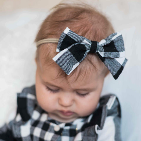 White & Black Buffalo Check Nylon Headband Hairbow - Orange Poppy Boutique