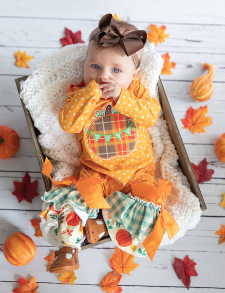 Harvest Fields Ruffle Romper - Orange Poppy Boutique