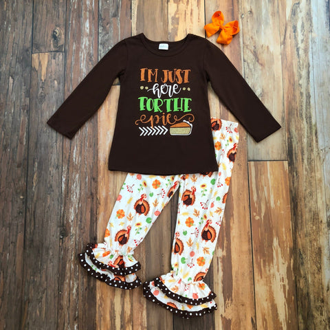 Just Here For The Pie Pant Set - Orange Poppy Boutique