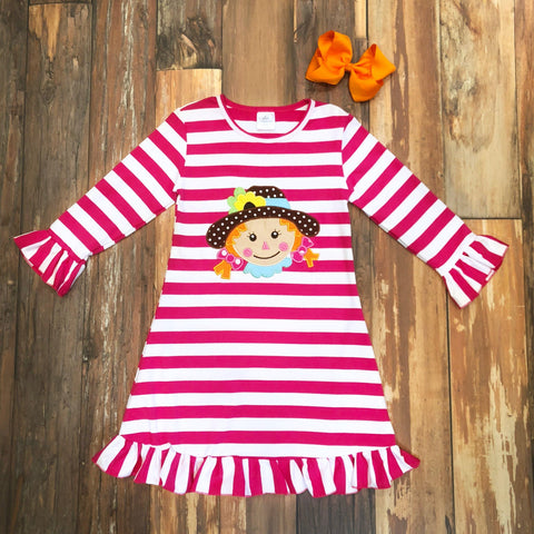 pink scarecrow applique dress