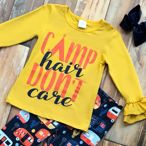 Camp Hair Don't Care Pant Set - Orange Poppy Boutique